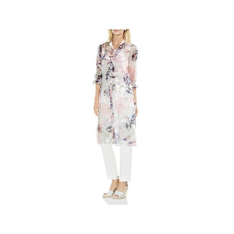 Vince Camuto Womens Tunic Top Side Tie Floral Print
