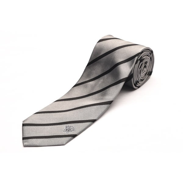 Versace Men's Medusa Head Slim Silk Neck Tie Silver/Black