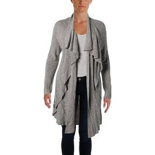 Nic + Zoe Womens Ribbed Knit Drapey Cardigan Sweater