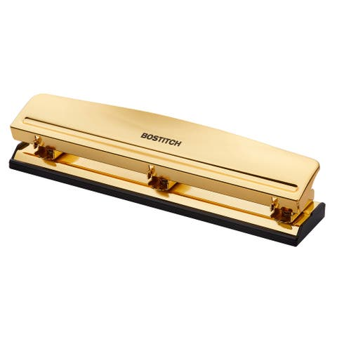Bostitch 3 Hole Punch, 12 Sheet Capacity, Metal, Gold Chrome