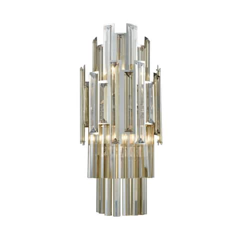 2-Light Sconce In Polished Chrome With Clear Crystal With Clear Crystal Made Of Crystal Metal -
