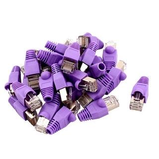 Unique Bargains 30 Pcs 8P8C Cat6 Patch RJ45 Crystal Cover Modular Plug w Purple Protector