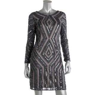Adrianna Papell Womens Petites Cocktail Dress Shimmer Sequined