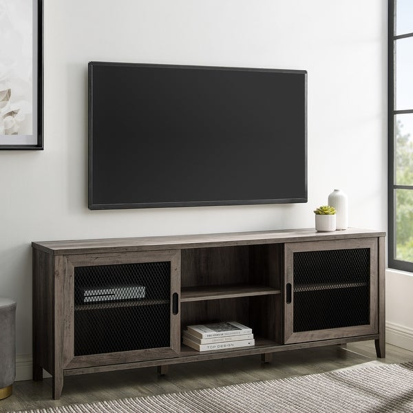 The Gray Barn 70-inch Sliding Mesh Door TV Console. Opens flyout.