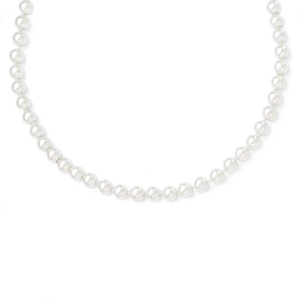 Chisel 8mm White Glass Pearl Cord Necklace - 52 Inches