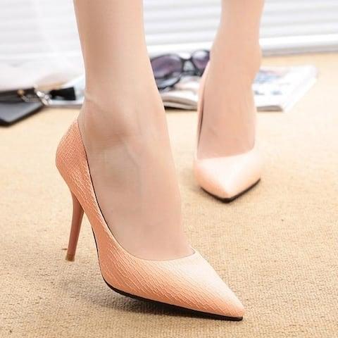 Korean New Fashion Sexy Club Thin High Heel Serpentine Soild Women Pointed Pumps