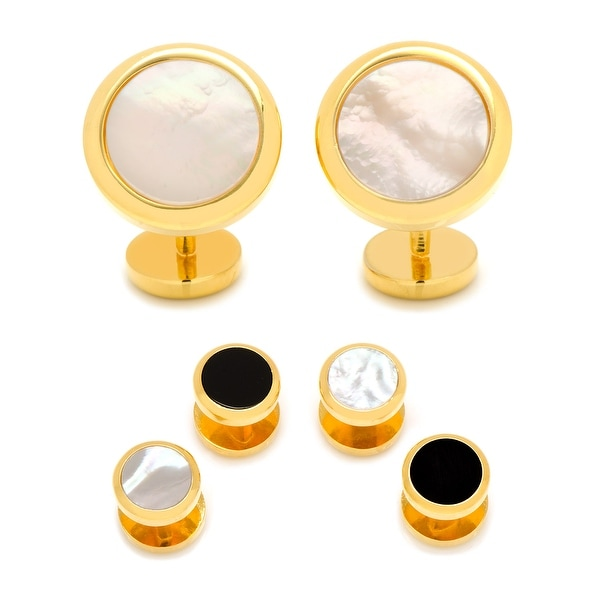 Double Sided Gold Mother of Pearl Round Beveled Stud Set
