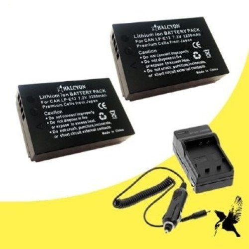 Two Halcyon 2200 mAH Lithium Ion Replacement Battery & Charger Kit for Canon EOS M 18.0 MP Compact Systems Camera & Canon LP-E12