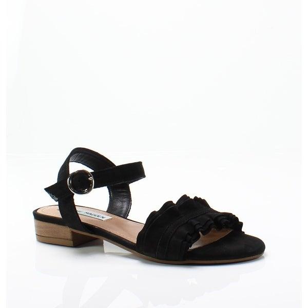 411890b2cf Steve Madden NEW Black Women's Size 8M Brett Ruffle Suede Sandals