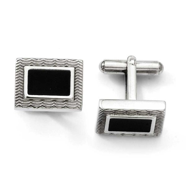 Stainless Steel Black Enamel Cuff Links