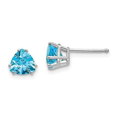 14K White Gold 6mm Trillion Blue Topaz Earrings by Versil