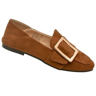 Bella Marie Adult Camel Suede Metal Buckle Pointed Toe Moccasins (3 options available)