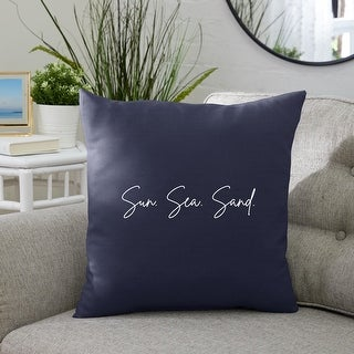 Link to Sun. Sea. Sand. Indoor/Outdoor Embroidered Square Pillow, Knife Edge Similar Items in Decorative Accessories