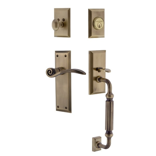 Nostalgic Warehouse NYKSWN_ESET_234_FG_RH New York Right Handed Sectional Single Cylinder Keyed Entry Handleset with F Grip and