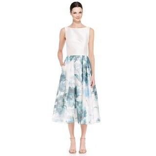 Theia Crepe Top Floral Print Tea Length Cocktail Evening Dress - 12