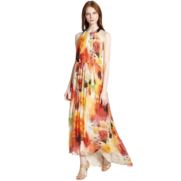 Shop Alice & Olivia Ryan Open Back Floral Print High Low Maxi Gown ...