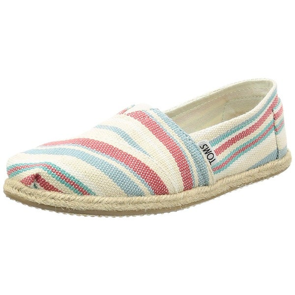 74f93abaa03 TOMS Women  x27 s Seasonal Classics Pale Pink Woven Stripe Rope Sole Loafer  -