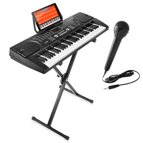 Electric Keyboard Piano with Stand, Microphone, & Sticker Sheet -