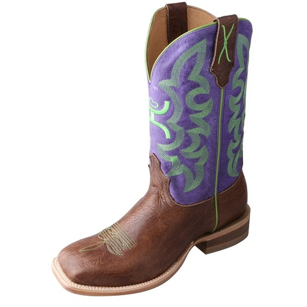 HOOey Western Boots Mens Cowboy Square Gold Buckle Brown