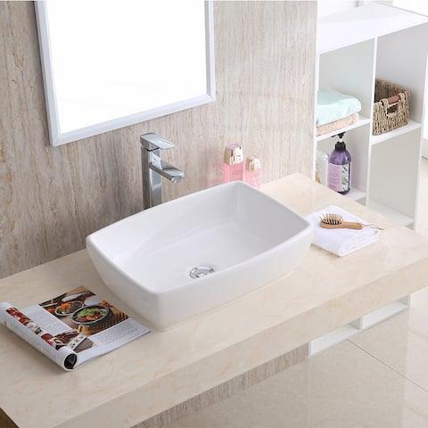 "Karran VC-502-WH Valera 19"" Vitreous China Vessel Bathroom Sink in White"