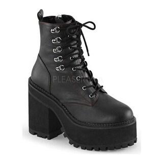 Demonia Women's Assault 100 Ankle Boot Black Vegan Leather