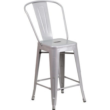 Collins 24'' High Silver Metal Indoor/Outdoor/Patio/Bar Counter Height Stool w/Back