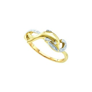 10k Yellow Gold Round Natural Diamond Womens Dolphin Animal Slender Fine Daily-wear Band Ring 1/20 Cttw - White