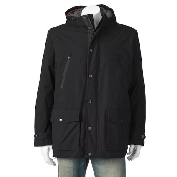 Shop London Fog Men S Anorak Jacket With Hood Black Size