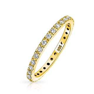 Link to Pave CZ Eternity Wedding Band Ring Gold Plated 925 Sterling Silver Similar Items in Rings