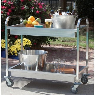 "Link to Bayou Classic® Stainless Steel Serving Cart - 30""h x 35""w x 19""d Similar Items in Outdoor Coffee & Side Tables"