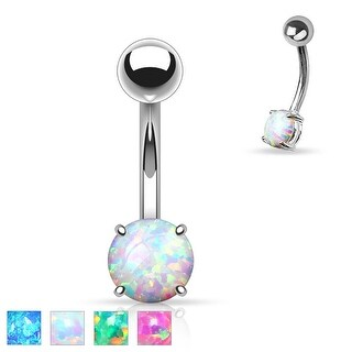 Basic Non Dangle Synthetic Opal Prong Set 316L Surgical Steel Belly Navel Ring