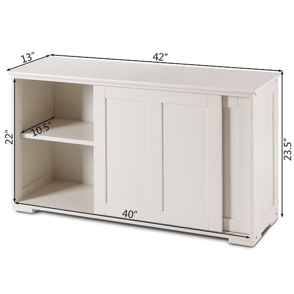 Shop Kitchen Storage Cupboard Cabinet With Sliding Door White Overstock 28422268