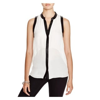 Chelsea & Walker Womens Juston Blouse Tiered Faux Leather Trim