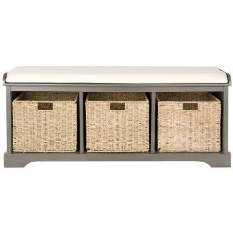 "SAFAVIEH Lonan Grey/ White Storage Bench - 47"" x 16.1"" x 19.9"""