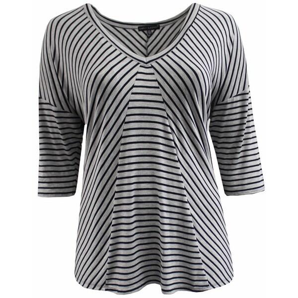 bd613296c20a6 Women Plus Size Striped V Neck Asymmetrical Knit Top Tee Blouse Shirt Grey  170.15