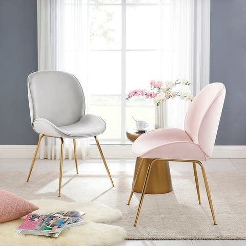 Art-Leon Beetle Design Velvet Dining Chair with Plated Golden Legs