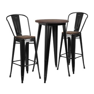 "Offex 24"" Round Black Metal Bar Table Set with Wood Top and 2 Stools - N/A"