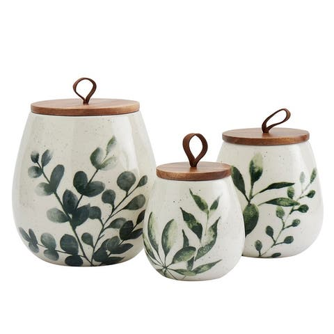 Tabletops Gallery 3PC Green Leaf Canisters with Acacia Wood Lid