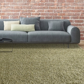 LUXURIOUS AND THICK DOUBLE TEXTURED SHAG AREA RUG IN OREGANO GREEN
