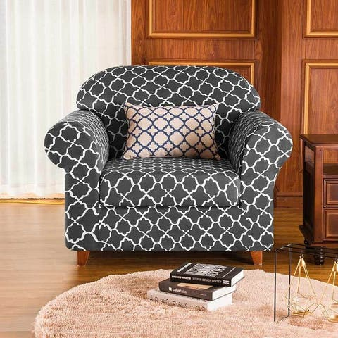 Subrtex 2-Piece Cloud Print Soft Cover Slipcover Furniture Protector