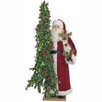 """57"""" Father Christmas Oh Deer Santa with Reindeer and Pre-Lit Tree - Clear LED Lights - RED"""