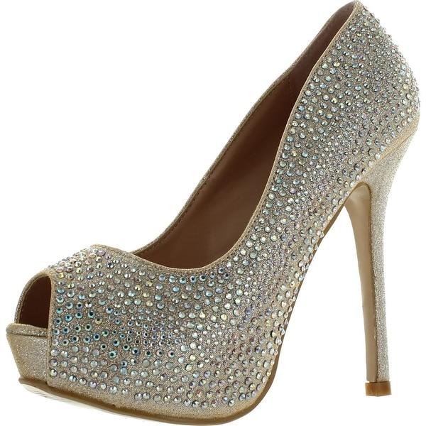 Bella Luna Belle-01 Women's Glitter Rhinestone Platform Peep-Toe Stiletto Heels