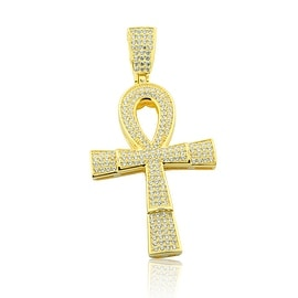 Egyptian Cross Pendant Mens 56mm Tall Yellow Gold-Plated Silver With CZ