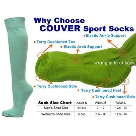 Light Sky Blue Couver Knee High Unisex Sports Athletic Baseball Softball Socks(3 Pairs)