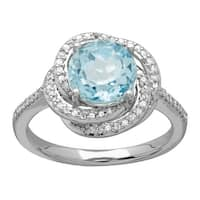2 1/3 ct Sky Blue Topaz and 1/5 ct Diamond Ring in 14K White Gold