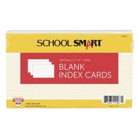 School Smart Blank 90# Plain Index Card, 5 x 8 Inches, White, Pack of 100
