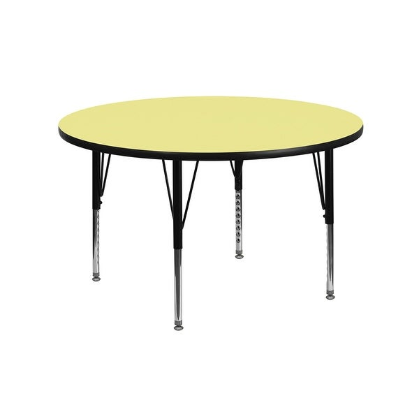 Offex 42'' Round Activity Table with Yellow Thermal Fused Laminate Top and Height Adjustable Pre-School Legs - N/A
