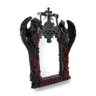 Gothic Grim Reapers and Roses Sculptural Archway Framed Mirror - Black