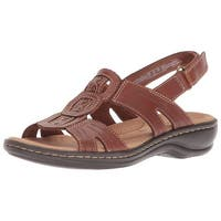 CLARKS Womens leisa vine Leather Open Toe Casual Ankle Strap Sandals