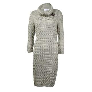 Calvin Klein Women's Cowl Neckline Textured Sheath Sweater Dress - xL